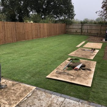 Turf being laid in Chelmsford, Essex