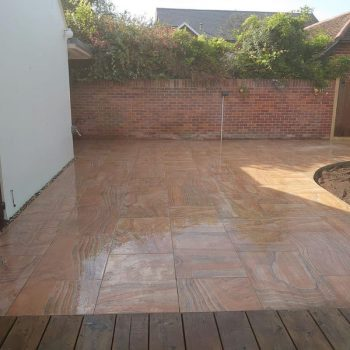 Rainbow porcelain patio in Brentwood